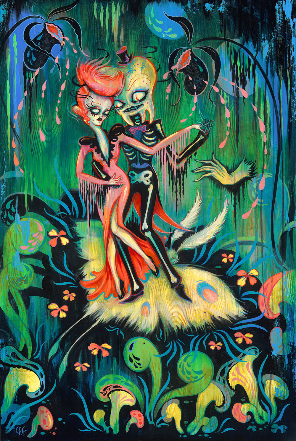 "camille rose garcia Los angeles-born artist camille rose garcia crafts vibrant, horror-infused paintings a new show at dorothy circus gallery in italy, titled ""the ballrooms of mars."