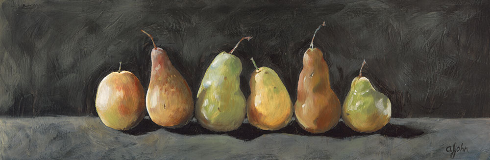 Encaustic painting of pears