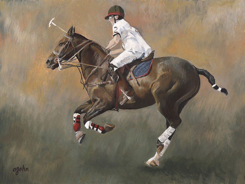 encaustic painting of polo rider
