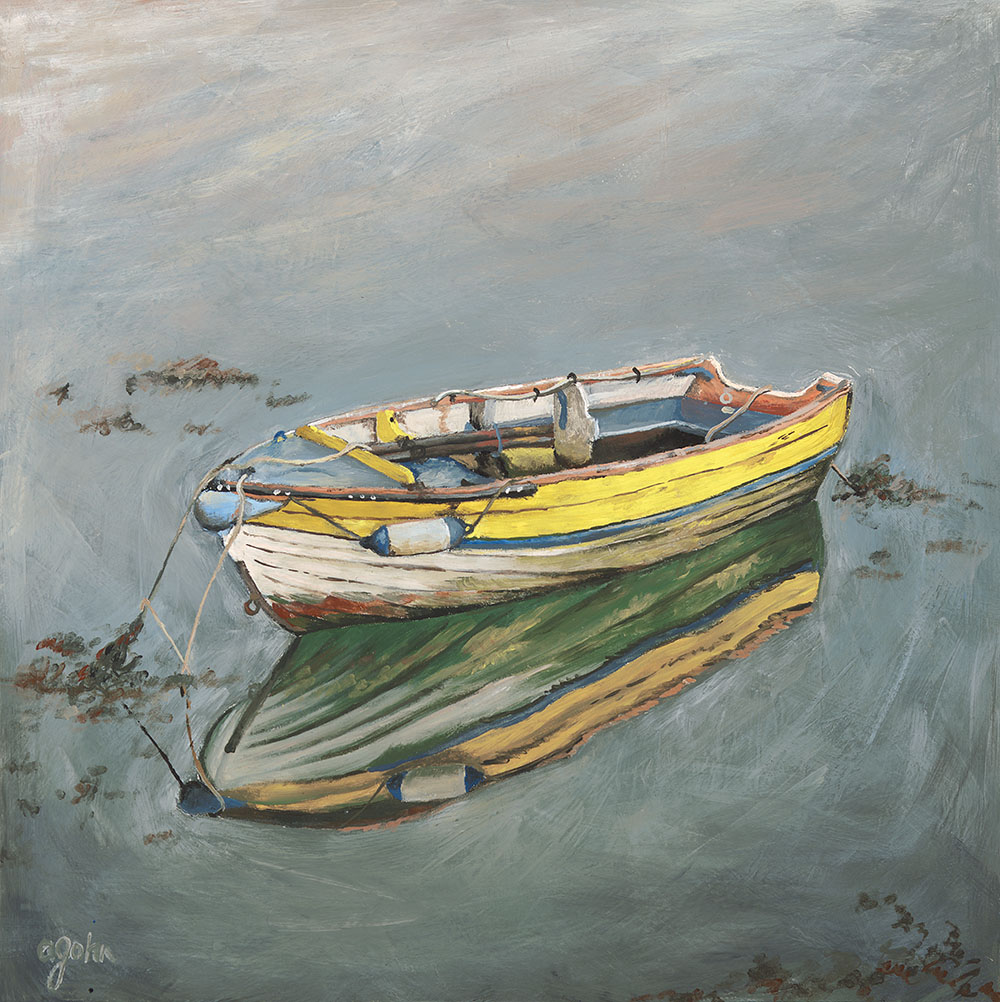 Encaustic painting of row boat